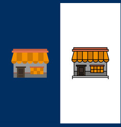 shop online market store building icons flat and vector image