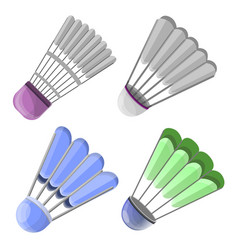 shuttlecock icon set cartoon style vector image