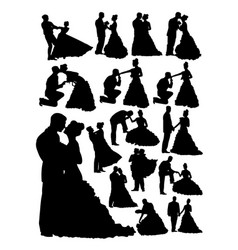 Silhouette bride and groom vector