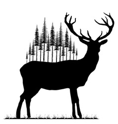 Silhouette of deer and fir trees on his back vector