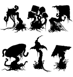 Sinister mushroom silhouettes set vector