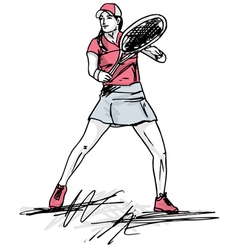 Sketch of woman playing tennis vector