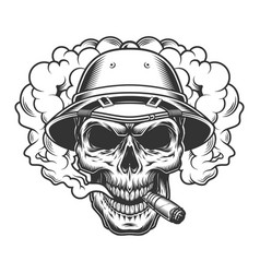skull in smoke cloud vector image