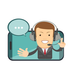 smiling male operator with headset speaking from vector image