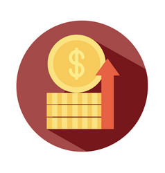 Stack coins money growing up arrow rising food vector