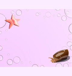 Starfish and snail bubbles on a pink background vector
