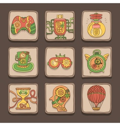 Steampunk icons vector