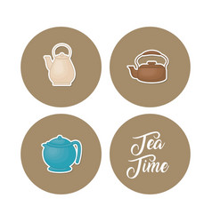 tea icons set vector image