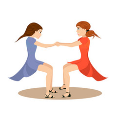 two cute girls whirl in round dance holding hands vector image