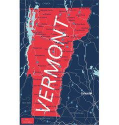 vermont state detailed editable map vector image