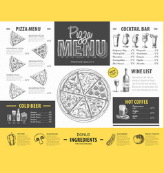 Vintage pizza menu design restaurant menu vector