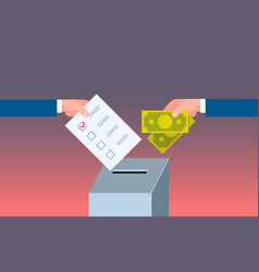 voter putting paper ballot list in box selling vector image
