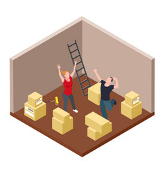 young couple rejoices moving isometric vector image