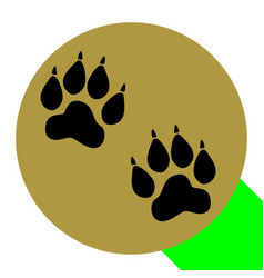 animal tracks sign flat black icon with vector image
