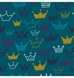 Crowns seamless pattern on pastel background vector image vector image