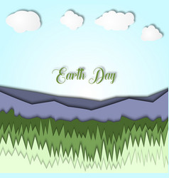 earth day 3d with landscape of vector image vector image