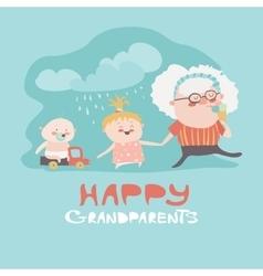 Happy grandmother with their grandchildren vector image vector image