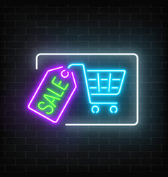 neon glowing sale sign with shopping cart and tag vector image vector image