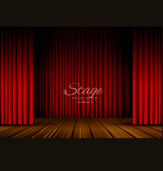 open red curtains stage theater or opera vector image vector image