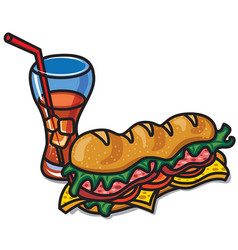 sandwich with cola vector image vector image