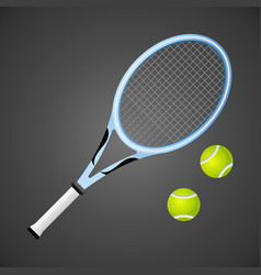 tennis racket and balls isolated on dark vector image