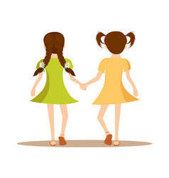back view of two cute little girls holding hands vector image