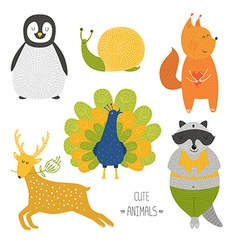 Cute animals collection vector image