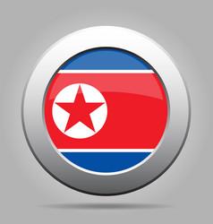flag of north korea shiny metal gray round button vector image vector image