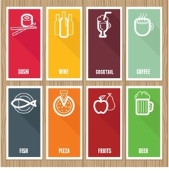 flat banners with cafe icons vector image vector image