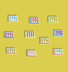 Flat icons set of business statistics concept in vector