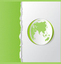 green torn paper with earth vector image vector image