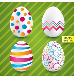 Happy easter white eggs with colorful patterns vector image vector image