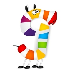 Number nine Made of colorful animal cartoon vector image