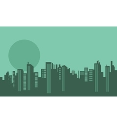 Silhouette of many buildings and moon vector image vector image