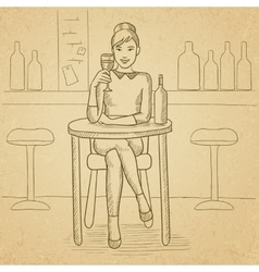 Woman sitting at bar vector image vector image