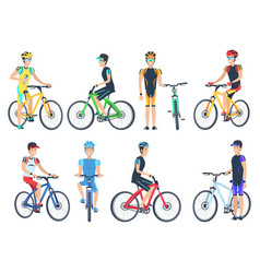 bicyclist riding on bike standing near bicyclet vector image