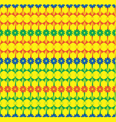 blue green red rows of flowers seamless pattern vector image