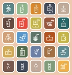 Fintech line flat icons on orange background vector image vector image