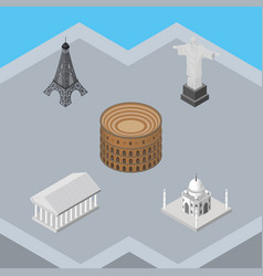 isometric travel set of athens rio india mosque vector image