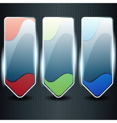 Transparent glass banners with color elements vector image