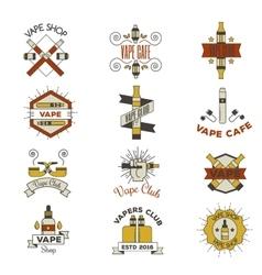 Vape emblem set vector image