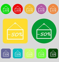 50 discount icon sign 12 colored buttons Flat vector image