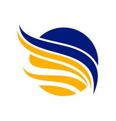 abstract circled blue yellow wing symbol design vector image