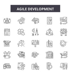Agile development line icons signs set vector