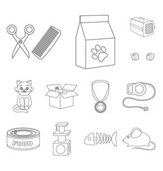 An animal cat outline icons in set collection for vector