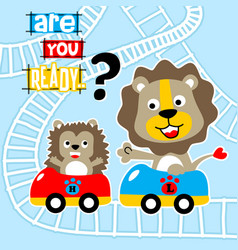 Animals cartoon playing roller coaster vector