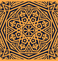 Arabic pattern orange arabesque ornament vector