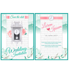 Around the clock wedding card invitation vector