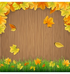 Autumn leaves wooden boards and green grass vector