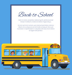 Back to school poster with school bus and kids vector